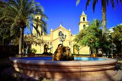 Alicante, Torrevieja,fountain,Church,Church of the Immaculate Conception,Palm,Religion stock images
