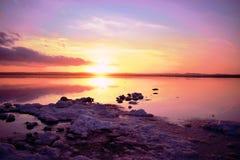 Alicante, Torrevieja, słone jeziora Torrevieja, zmierzch obraz stock