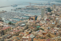 Alicante town and harbor Royalty Free Stock Image
