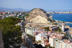 Alicante View from the Fortress of Santa Barbara Royalty Free Stock Image