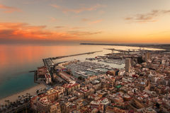 Alicante view at sunset. Time - Port Alicante Royalty Free Stock Photo