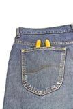 Alicates amarelos em calças de brim do bolso Foto de Stock Royalty Free
