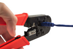 Alicates de friso e cabo azul Imagem de Stock