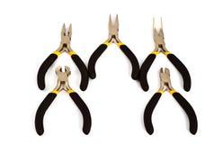 Alicates fijados con la maneta negro-amarilla Foto de archivo libre de regalías