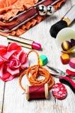 Alicates, gotas, y accesorios para mujer Fotografía de archivo libre de regalías