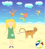 Alice και Timothy η γάτα κοντά στη θάλασσα διανυσματική απεικόνιση