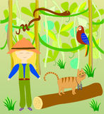 Alice και Timothy η γάτα στη ζούγκλα ελεύθερη απεικόνιση δικαιώματος