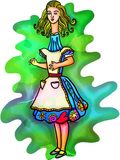 Alice στη χώρα των θαυμάτων Watercolour Στοκ Εικόνες