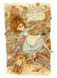 Alice au pays des merveilles Alice tombe vers le bas dans le terrier de lapin illustration libre de droits