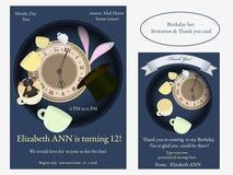 Alice au pays des merveilles Invitation folle d'anniversaire de thé Image libre de droits