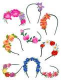 Alice-Bänder mit Blumen Stockbilder