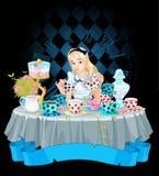 Alice bierze herbacianą filiżankę ilustracja wektor