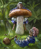 Alice and blue caterpillar. Illustration for the fairy tale Alice in Wonderland Stock Photo