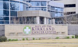 Kirkland Cancer Center Sign, Jackson Tennessee. The Alice and Carl Kirkland Comprehensive Cancer Center and Diagnostic Centers, located in Jackson, Tennessee stock images