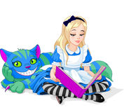 Alice and Cheshire Cat. Wonderland Alice reading a book and Cheshire Cat stock illustration