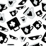 Alice Cups e cartões Fundo sem emenda, branco Fotografia de Stock