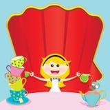 Alice in de Uitnodiging van de Partij van Unbirthday van het Sprookjesland royalty-vrije illustratie