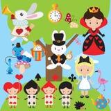 Alice in de vectorillustratie van het Sprookjesland royalty-vrije stock afbeeldingen