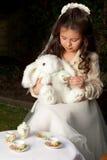 Alice in der Märchenlandteeparty stockfotos