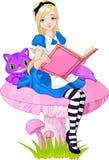 Alice, die Buch anhält Stockfotos