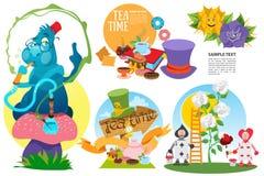 Alice em caráteres e em elementos do país das maravilhas imagem de stock