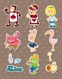 Alice em etiquetas do país das maravilhas ilustração royalty free