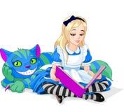 Alice en de Kat van Cheshire Stock Afbeeldingen