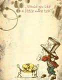 Alice en papier grunge affligé par pays des merveilles - chapelier fou - taches de thé - papier d'album du pays des merveilles illustration stock