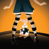 Alice encounters the rabbit EPS 10 vector. Royalty free stock illustration Stock Photography