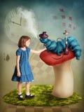 Alice et le chenille Image stock