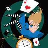 Alice falls down the rabbit hole. EPS 10 vector Stock Photo