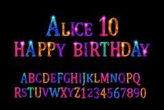 Alice 10 font children`s vector illustration