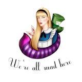 Alice in gezeichnetem Illustrationshintergrund des Märchenlandes Hand Stockbild