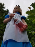 Alice giant. Alice in wonderland giant magical dressup girl child drink storybook fairytale Royalty Free Stock Photos