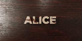 Alice - grungy wooden headline on Maple  - 3D rendered royalty free stock image Stock Images