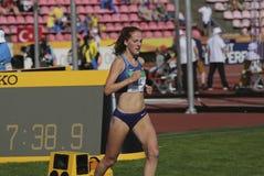 ALICE HILL van de V.S. op 3000m STEEPLECHASE op IAAF-Wereldu20 Kampioenschap Tampere, Finland 10 Juli, 2018 Royalty-vrije Stock Fotografie