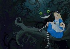 Alice i mirakel- skog stock illustrationer
