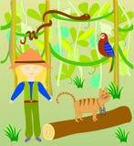 Alice i tymotka kot w dżungli Obrazy Royalty Free