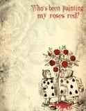 Alice i underland bedrövat Grungepapper - målade rosor - som spelar kort - bekymrad Digital pappers- design royaltyfri illustrationer