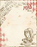 Alice i underland - tokig hattmakare - oss beträffande ` allt tokigt här - märka formatbakgrundspapper stock illustrationer