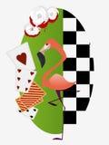 Alice im Märchenland Weiße Rosen mit roter Farbe, Flamingokrokett für das königliche Lizenzfreie Stockfotografie