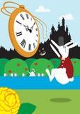 Alice im weißen Kaninchen des Märchenlandes stieg Lizenzfreie Stockbilder