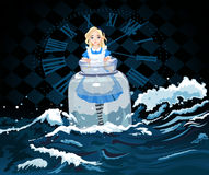 Alice in the Jar. Alice stands in a transparent jar on watch background Royalty Free Stock Image