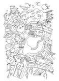 alice kraina cudów Alice jest spada puszkiem w królik dziurę ilustracja wektor
