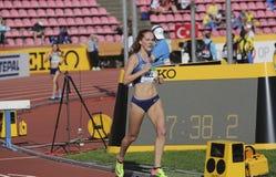 ALICE KULLE från USA på den 3000m HINDERLÖPNINGEN på mästerskapet Tammerfors, Finland 10 Juli, 2018 för IAAF-värld U20 Royaltyfri Bild