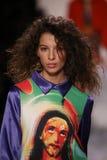 Alice Metza walks the runway at the Jeremy Scott show. NEW YORK, NY - FEBRUARY 10: Alice Metza walks the runway at the Jeremy Scott show during New York Fashion Royalty Free Stock Image