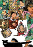 Alice no jogo do grilo do país das maravilhas Imagens de Stock