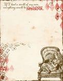 Alice no país das maravilhas - absurdo - Alice na cadeira - papel de fundo do tamanho da letra ilustração royalty free