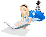 Alice reading a book vector illustration