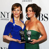 Alice Ripley and Marcia Gay Harden. Tony winners Alice Ripley (Next to Normal)  and Marcia Gay Harden (God of Carnage) pose in the press room together and Royalty Free Stock Photos